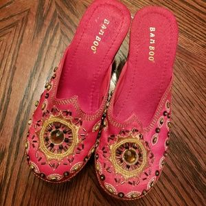 BAMBOO Shoes - Red Satin Embroidered Clogs